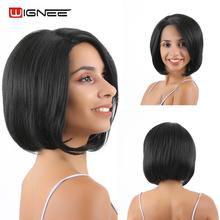 Wignee Side Part Lace Front Synthetic Short Wigs For Women Natural Black Straight Hair High Density Fake Female Wig