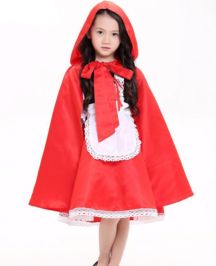 Kid Girls Little Red Riding Hood Costume Fairy Tales Clothes Cute