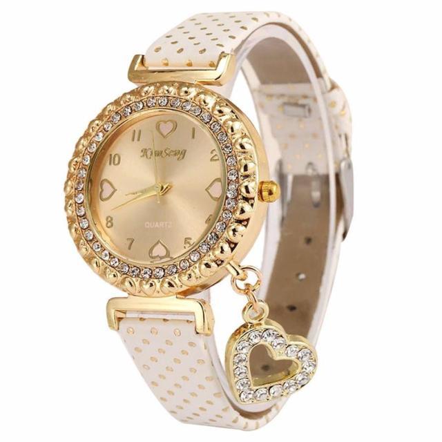 Fashion Love Heart Bracelet Watches Women Leather Crystal Quartz Wrist Watch Gol