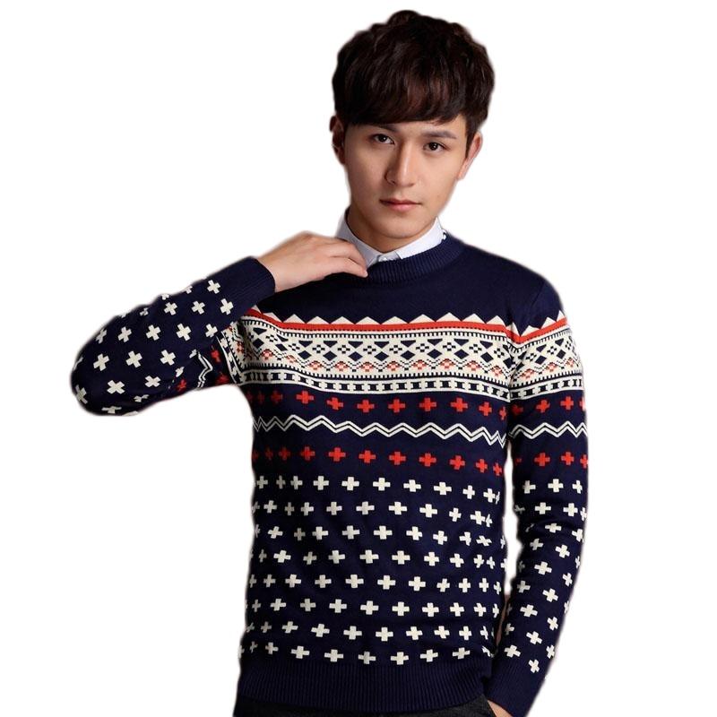 2016 Warm Slim Fashion Hot Sale Knitted Printing font b Sweater b font font b Men
