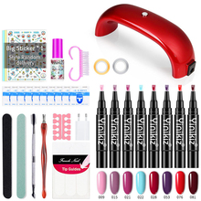 8 Colors 5ml One Step Gel Nail Polish Pen Set UV Lamp Kit Manicure Pedicure All for Beginner