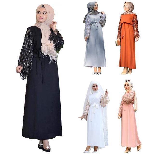 Vestido largo de lentejuelas con borlas para mujer, caftán Abaya de Dubái, ropa árabe islámica, vestido Hijab de banda