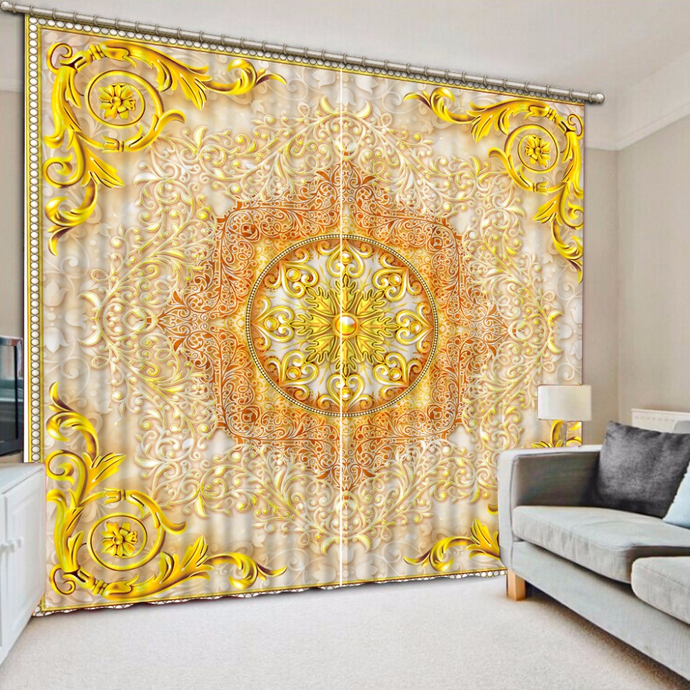 European Window Curtain The Living room Bedroom Curtains beautiful pattern Luxury Curtain Blackout 3D Curtains