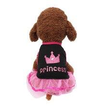 Дышащая летняя юбка для собак, повседневные элегантные кружевные платья принцессы с принтом короны для маленьких собак, Vestidos Para Perras