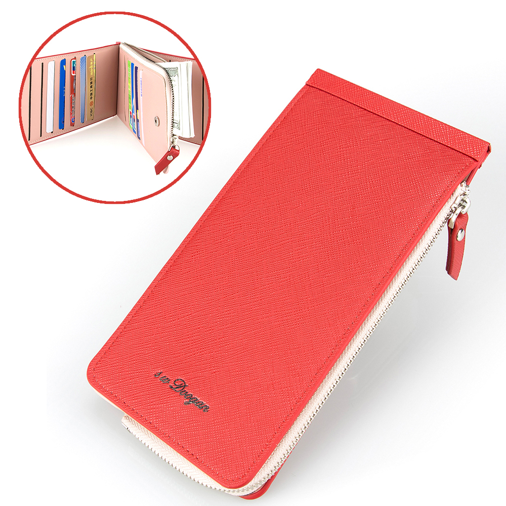 High Quality Female Card Wallet Three Folds Card Holder Zipper Purse for Phone Cash Litc ...