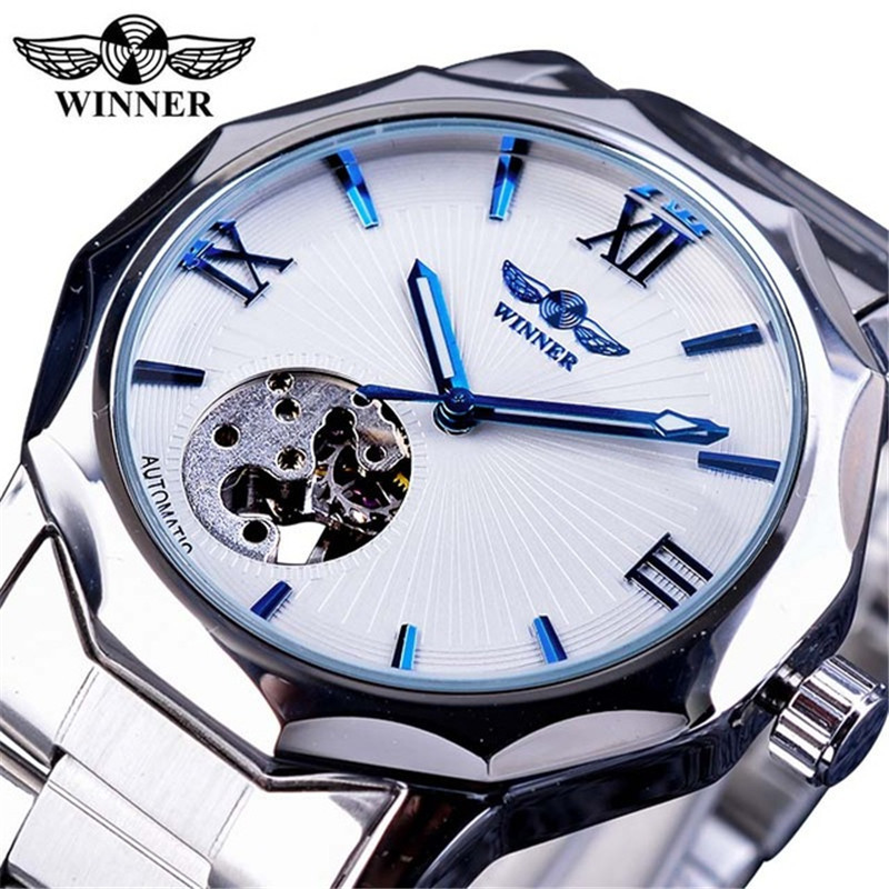 2018 Winner Brand Automatic Skeleton Man Clock Top Fashion Silver Business Full Stainless Steel Relojes Hombre Mechanical Watch недорго, оригинальная цена