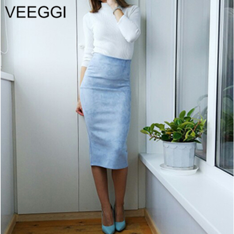 Veeggi New Arrivalmulti Color Suede Midi Pencil Skirt Women Fashion Elastic High Waist Office Bodycon Long Skirts A1707057
