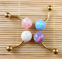 Opal Double Gemmed Belly Ring Opal Body Jewelry Gold Belly Button Rings Navel Piercing