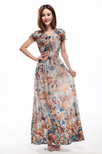 Women V Neck Puff Sleeve Bohemia Maxi Dress 2017 Summer Women Ice Milk Butterfly Printed Long Chiffon Beach Dresses Plus Size