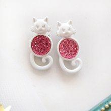 21604d254 New Girly Funny Kitty Ear Stud Earring Fashion Glittering Cat Earring 2018  Women insert Girls Jewellery