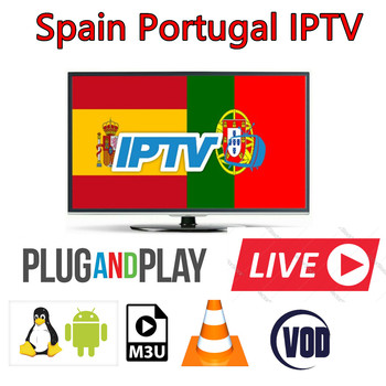 1 Year Portugal IPTV Subscription With 400+ Europe Spain Portugal  LiveTV and VOD Latin Channels For Android TV Box smart tv
