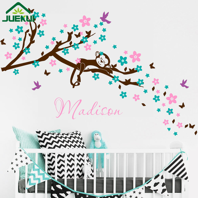 Personalize Baby Name Wall Decal Cherry Blossom Branch Wall Sticker Dream  Monkey Flower Tree Branches Wall