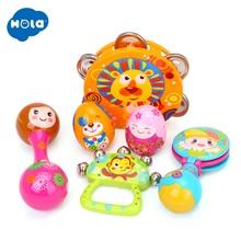 6pcs/set Colorful Baby Rattle Handbell Musical Tambourine Toys Children Cartoon Sand Egg Maracas Drum Bell