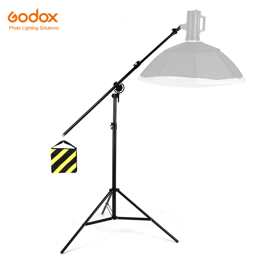 126 320cm 2in1 Light Stand Boom Arm Rotatable Aluminum Adjustable Tripod Boom Light Stand with Sandbag