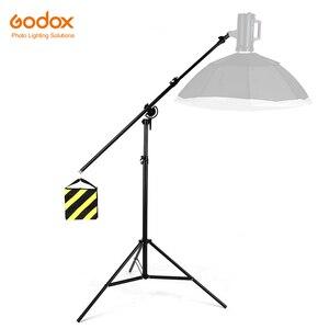 """Image 1 - Soporte de luz 2 en 1 de 126 """"y 320cm, brazo de soporte, soporte de luz de brazo de trípode ajustable de aluminio giratorio con bolsa de arena para fotografía de estudio"""