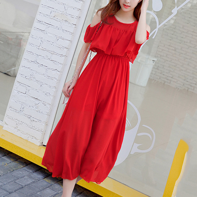 077fbebf8c6c black white red dress women weekend vacation maxi dress short sleeve cold  shoulder chiffon Tropical beach ladies dress vestidos