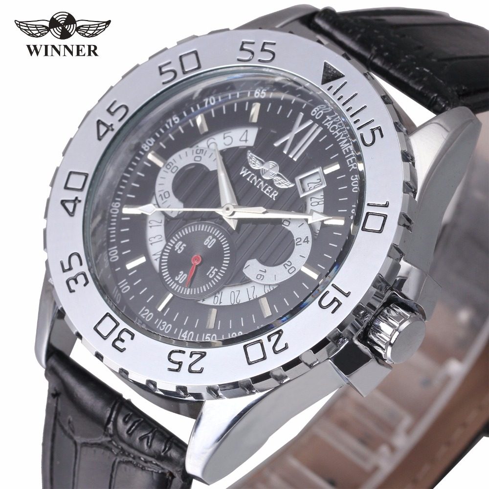 WINNER Men Sport Automatic Mechanical Watches Leather Band Self-wind Tachometer Calendar Date Fashion Male Wristwatch + GIFT BOX чайник atlanta ath 2420 red