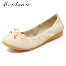 Купить с кэшбэком Meotina Spring Ballet Flats Shoes Women Soft Flat Loafers Shoes Casual Bow Round Toe Boat Shoes Ladies New Pink Beige Size 9 40