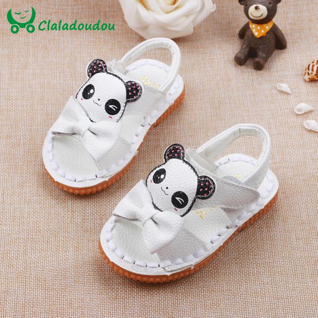 Bebê recém-nascido Menina Sandálias Sapatos 13.3-15.3 CM Miúdos Criança Sapatos De Couro Genuíno Com Panda Bonito E Meninas Bowtie praia Walker