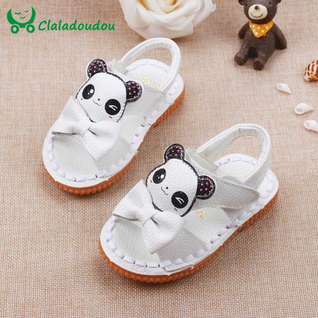 Newborn Baby Girl Sandals Shoes 13.3-15.3CM Kids Toddler Genuine Leather Shoes With Cute Panda And Bowtie Girls Beach Walker