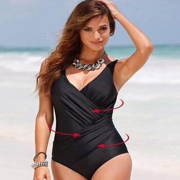 חם קיץ סקסי לדחוף למעלה ללא משענת בגד גוף נשי פי סגנון מוצק בגד ים גדול גודל בגדי ים חתיכה אחת רחצה חליפת נשים m-4XL