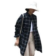 Summer Windbreaker Women's Clothing Large Size 2018 New Korean Version Lattice BF Wind Loose Long Shirt Jacket Tide Female ZTT39