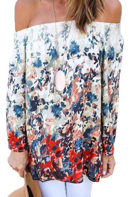 2017 fashion Slash NecReddish Floral Print Off Shoulder Chiffon Blouse LC25954 ladies tops tees shirt women Full Sleeve tops