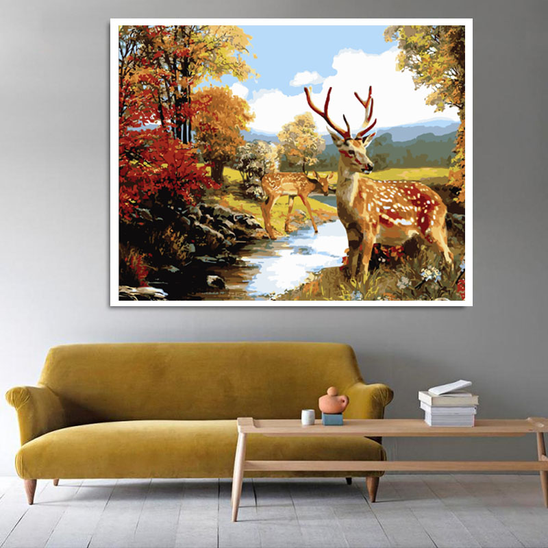 Natural Scene Woods Two Deers Stands By River Yellow Leaf Modern DIY Digital Oil Painting By Numbers For Home Decoration ...