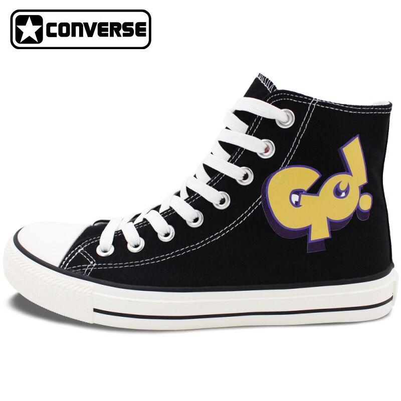 Prix pour Noir Converse All Star Unisexe Toile Chaussures ALLER BONJOUR High Top Lace Up Sneakers Personnalisé Cadeaux D'anniversaire Présente