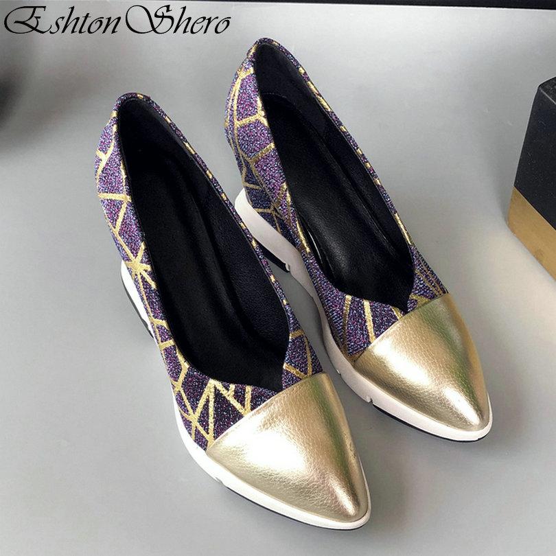 or Noir Bout 3 Eshtonshero Femmes En Sur Pointu Femme Or Cuir Pu Taille Plate Pompes Talons Mariage Hauts De Dames 8 Compensés Chaussures Slip Chaussure forme qBqaw4xSA