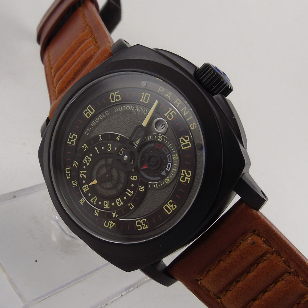 44mm Parnis Black Dial PVD case Leather strap Sapphire Glass 21 jewels Miyota Automatic Movement Men's Watch цена и фото