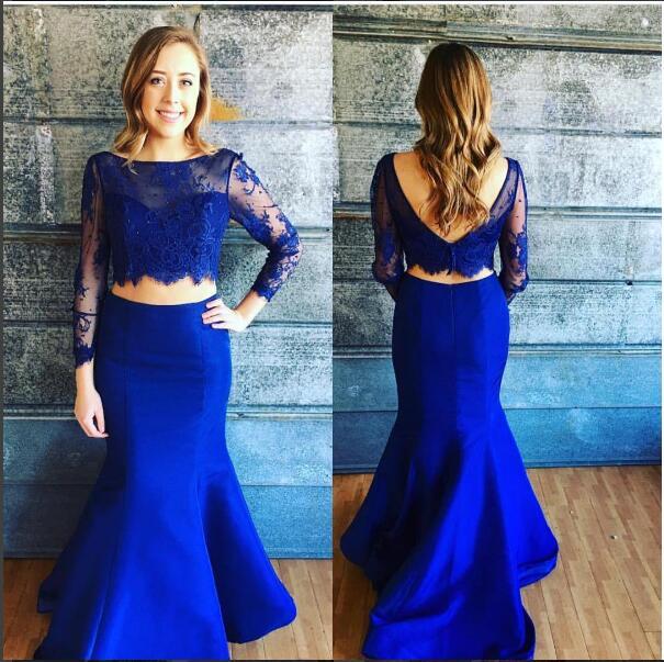 d3c5dadc796 2017 Elegant Two Pieces Prom Dress Mermaid Royal Blue Lace Bodice Open Back Long  2 Piece Prom Dress Vestido De Festa robe de bal