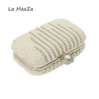 Newest Women's Day Clutch party Evening bag Pearl BeadedHasp Pvc Cortex Diamond Pearl bead embroidery luxury handbag for dinner