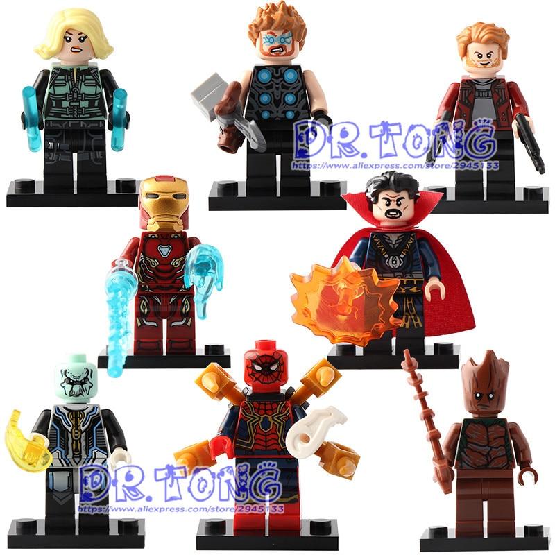 8PCS Super Heroes Avengers 3 Infinity War Thanos Iron Man Doctor Strange Ebony Maw Set Models Building Blocks Toys D033-D040