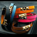 New Arrival High Quality Jewelry Brand Bracelet Rivet Metal Punk Style Genuine Leather Double circle Bracelet for Women