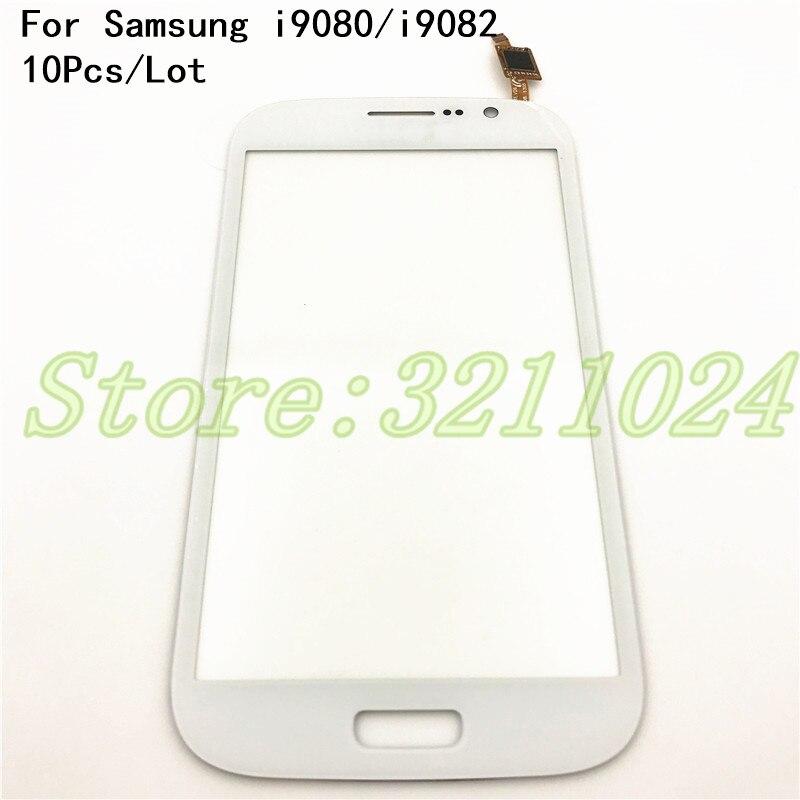 10 unids/lote, Panel táctil para Samsung Galaxy Grand Duos i9082 GT-I9082 i9080 GT-I9080, pantalla táctil, Sensor digitalizador blanco y azul