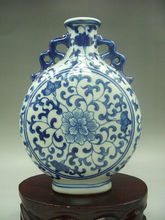 Elaborate Antique collection, handmade Chinese blue and white porcelain vase