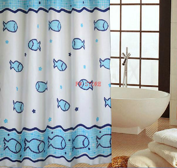 Fyjafon Bathroom Shower Curtains Polyester Fabric Water Proof Thickening Bath Curtain Mould Proof Blue Fish Pattern