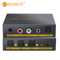 Neoteck SPDIF Toslink 3X1 Switcher Digital Audio Decoder Converter With 2m Optical Cable 3 Port Optical