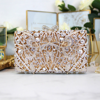 Custom dames Luxe metalen diamant tassen voor avondfeest crystal bag handtassen bruiloft tas goud kleur dag koppelingen