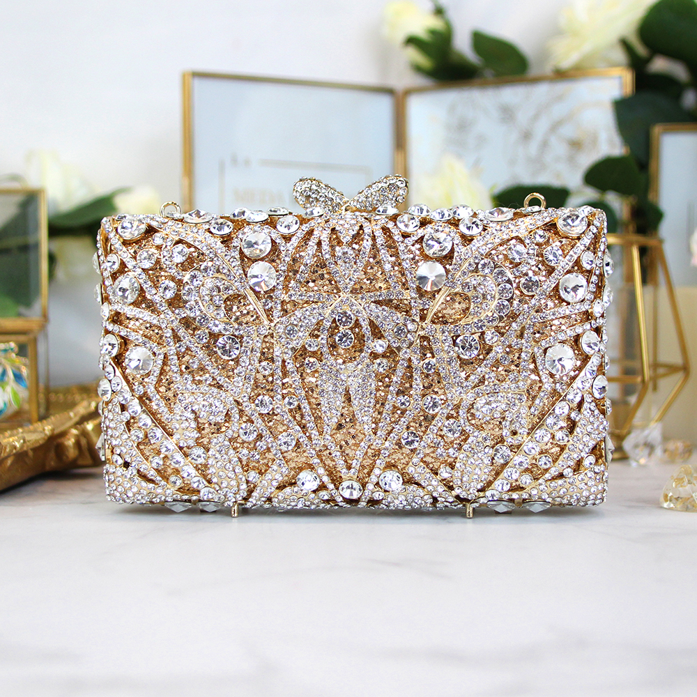 Custom ladies Luxury metal diamond bags for evening party crystal bag handbags wedding bag gold color day clutches