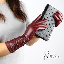 Guantes largos de piel para mujer a la moda, guantes cálidos de terciopelo para otoño, guantes de piel de oveja, nuevos guantes de alta calidad, Envío Gratis