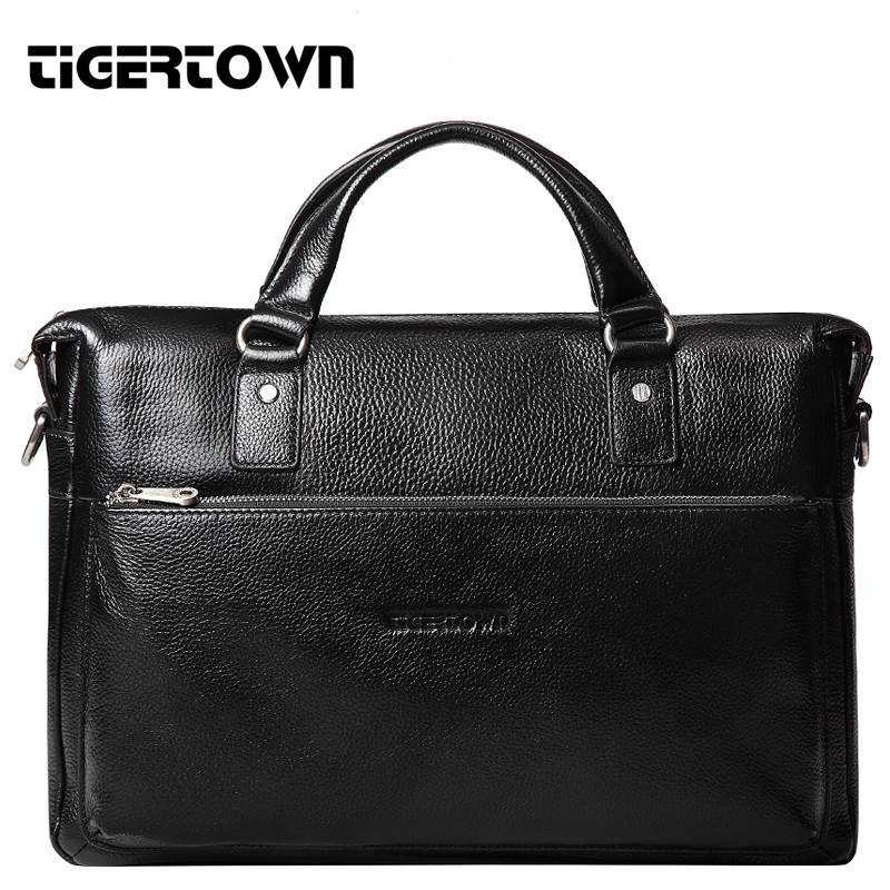 "TigerTown 2018 Mænds Casual Genuine Leather Real Cowhide BAG Briefcase Skuldertaske Messenger Laptop Taske Håndtaske 14 ""15"""