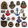 (18 pcs/lot) Cartoon Sailor Style Cloth Fabric Stickers Anchor Seaman Marine Student Sew-on Iron-on Clothes Badge Free shipping