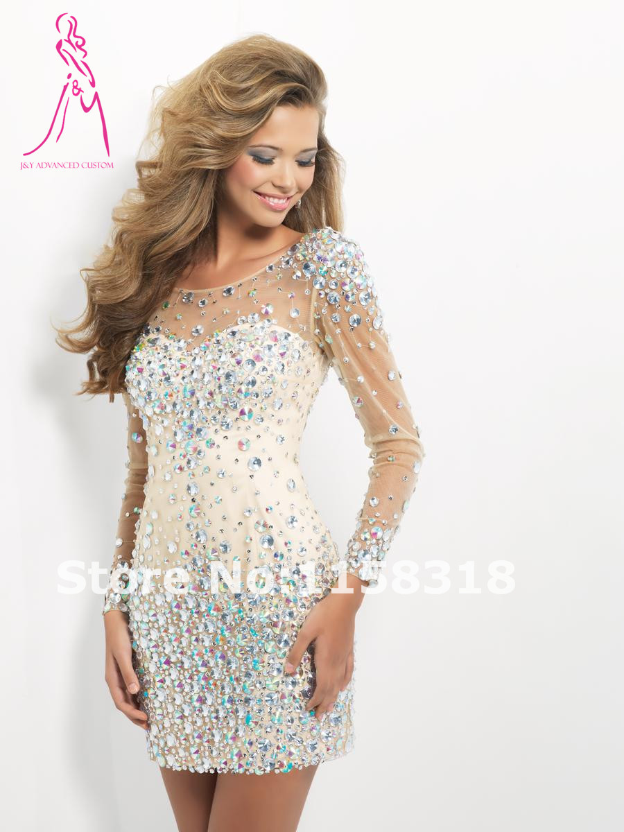 J Y 2015 Luxury Scoop Neck vestido de festa Sheath Crystal Beading Long Sleeve V back