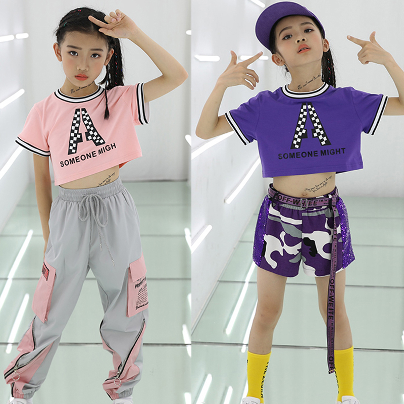 HipHop Clothes Girls Street Dance Pink T-Shirt+Pant For Children Clothes Hip Hop Dance Girl Hip Hop Kids Dance Costume BL1749