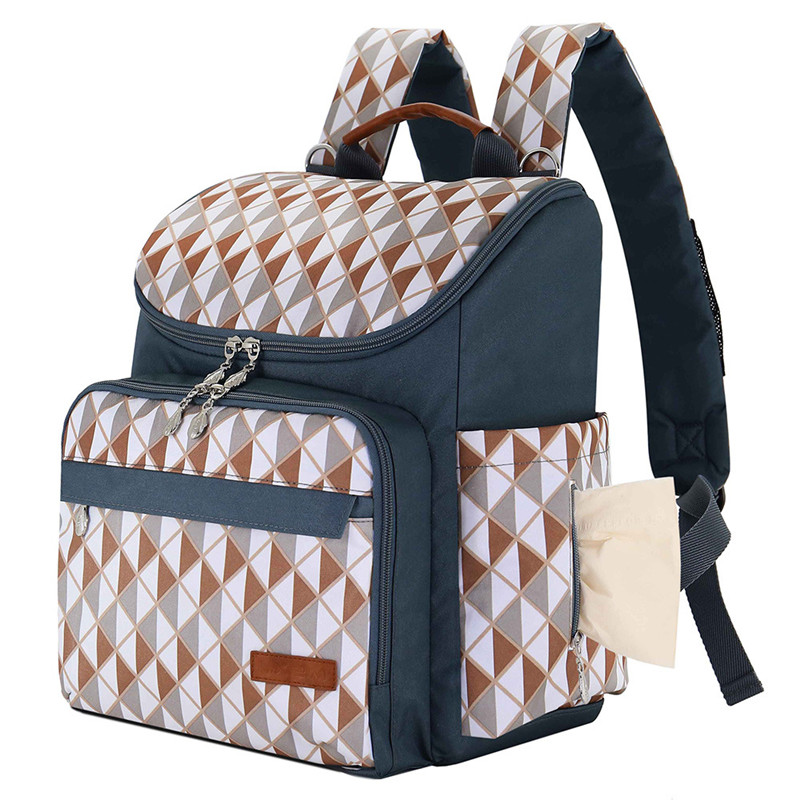 Sincere Mummy Diaper Bags Coffee&white Triangle Grid Flower Printed Square Vertical Section Zipper Pocket Canvas Casual Backpack An Enriches And Nutrient For The Liver And Kidney