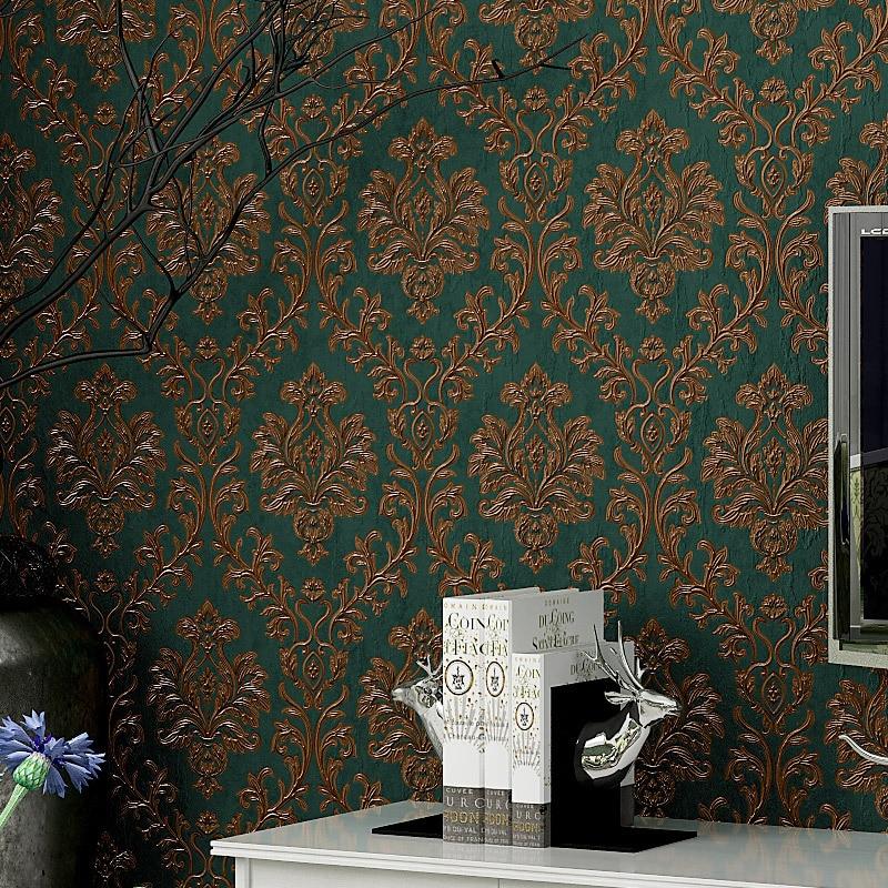 European Floral Wallpaper Vinyl Waterproof PVC 3D Wallpapers for Bedroom Living Room Vintage Wallpaper Strip for Walls,3 Style european photo vinyl flooring 3d stereoscopic couple dolphin ocean pvc wallpaper murals waterproof beach shell wallpapers