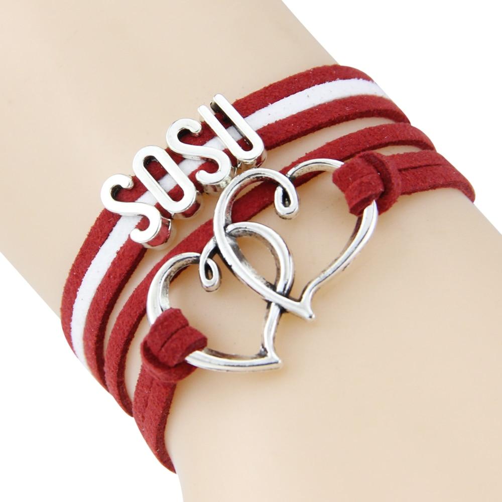 fashion love sosu rop double hearbracelet gift heart feet