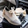 2017 de Lujo de la Marca de Malla Transpirable Hombre zapatos Casuales de Alta Calidad de Cuero Bajo Superior Trainer Walking Zapatos Unisex Al Aire Libre